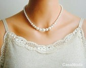 Pearl Necklace, Bridal Pearl Necklace, Vintage Style Necklace, While pearl necklace, dark knight necklace, Bridesmaids Gifts, bridal party