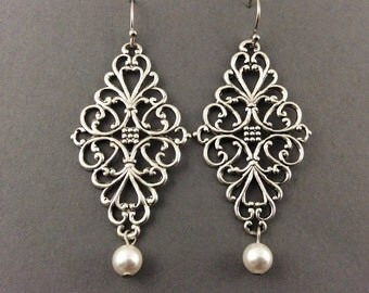 Bridal Chandelier Earrings With Large Silver Filigree And White Swarovski Crystal Teardrop Pearls