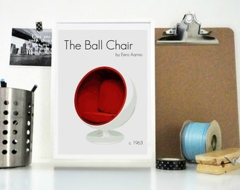Art Print The Ball Chair by Eero Aarnio Designer Item Print - Furniture Print - Vintage Chair Poster - Home Decor - Wall Art in Red