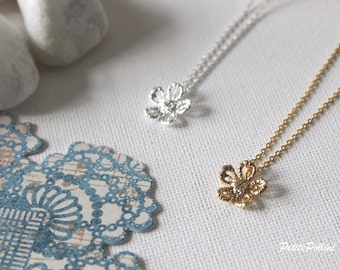Lace Flower Necklace in Matte Gold/Silver. Flower Necklace. Blossom. Garden. Botanical. Floral. Sweet and Cute. Gift For Her (PNL-116)