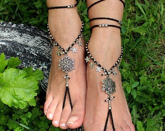 Barefoot Sandals, Boho Anklet, Black, Antique Silver, Toe Ring Anklet, Bohemian Wedding Jewelry, Ankle Jewelry