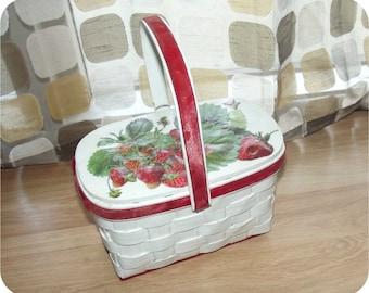 Vintage 60s Basket Purse   Decoupage Strawberries Purse   Hard Sided   Woven Wood   Box Handbag   Red White Green