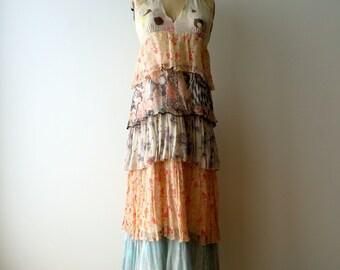 Floral Silk Chiffon Halter Dress Medium/Stella Forest/Boho Hippie Festival Long Halter Dress Medium/Silk Floral Maxi Halter Dress/Medium