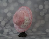 Tea Party Hat;  Pink Easter Bonnet with Ribbon; Girls Sun Hat; Pink Easter Hat; Sunday Dress Hat; Derby Hat; 16257