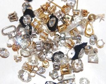 Rhinestones Clear Jewelry Making Crafts Harvest Repair Jewelry Lot Destash Findings