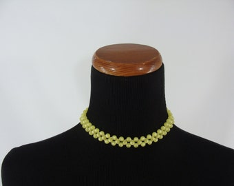 SALE Vintage Yellow Moonglo Choker, Moonglow Necklace