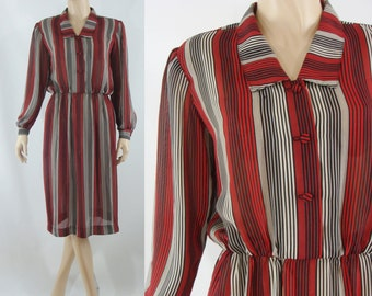 SALE Vintage Eighties Dress - Sheer Striped Shirtwaist Dress - 80s Day Dress - Large Sheer Dress