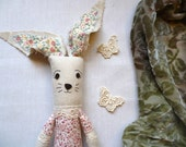 "Flora the Bunny- 10"" Plush Bunny Softie, Made From Salvaged and Re-Purposed Fabrics"