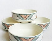 Set of four vintage southwestern ceramic bowls by Mikasa