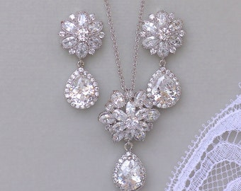 Crystal Jewelry Set, Necklace & Earring Set, Silver Crystal Wedding Jewelry Set, Silver Bridal Set, JENNA