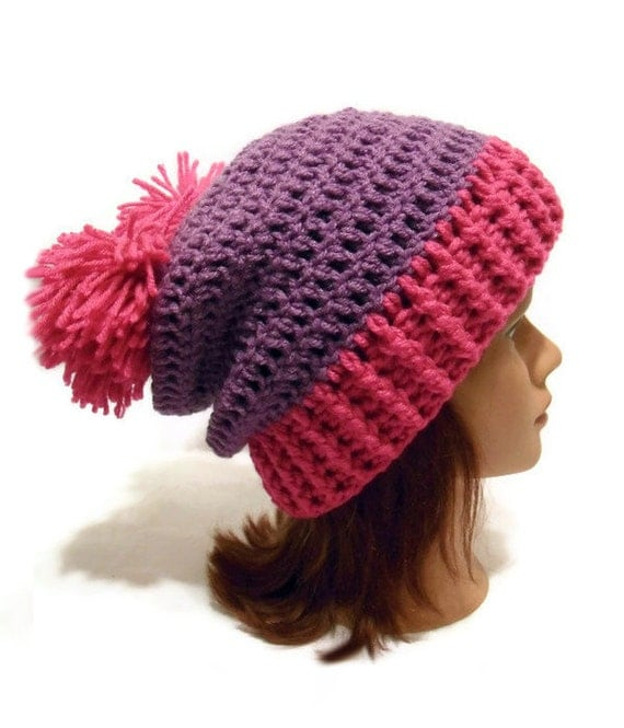 Double Pom Pom Hat Pink and Purple Beanie Crochet Slouchy Winter Hat Pink and Purple Womens Beanie Pom Pom Winter Hat Womens Pom Pom Hat