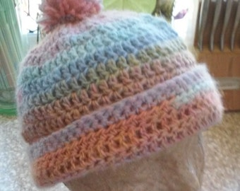 Beanie - Pink, Green, Blue, Brown, Orange and Cream Pastels With Pompom