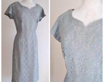 1950s Sage green lace & taffeta day dress / 50s grey green wiggle dress - M L