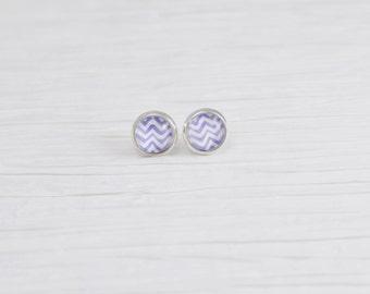 Purple Chevron Earrings, 8mm Stud Earrings, Purple Earrings, Chevron Stud Earrings, Small Stud Earrings, Glass Stud Earrings, Free Shipping