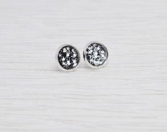 Black and Silver Glitter Earrings, Black Stud Earrings, Glitter Stud Earrings, Black and Silver Studs, Faux Plugs, Metallic Stud Earrings