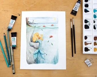 Flower Mermaid, Mermaid Sarah - whimsical sea illustration of a flower mermaid and a lighthouse