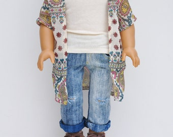 AG Doll Clothes - Kimono, Wrap, Pink, Paisley, Floral Stripes, Top, 18 inch Doll