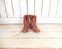 90s brown distressed leather combat boots/ladies leather hiking boots/vintage grunge boots/7