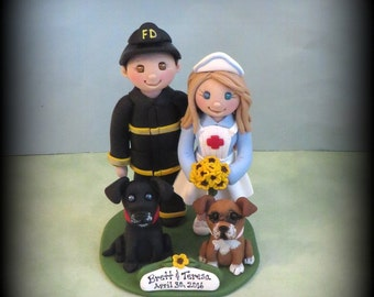 Wedding Cake Topper, Nurse and Fireman with Two Pets, Custom Cake Topper, Polymer Clay, Wedding or Anniversary Keepsake, Personalized