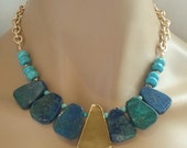 Bib Necklace Azurite Pyrite Statement Necklace with Turquoise Accents on Textured Gold Chain Bohemian Chic