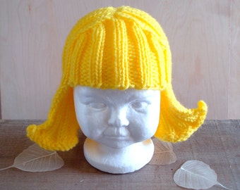 Baby Size Bright Yellow Hat Hair Knit Wig Baby Wig Yellow Wig Halloween Costume