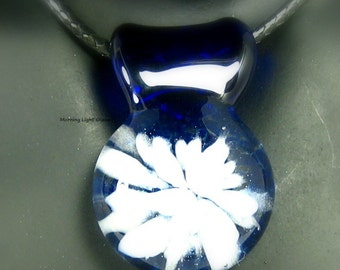 Lampwork Pendant - Boro Glass Necklace - Cobalt Blue - White Flower - Artisan Crafted Jewelry