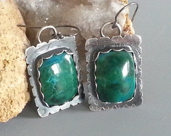 OOAK, Handmade, Earrings, Chrysocolla, Dangle Earrings, Sterling Silver, Fine Silver, Natural Stone, Rectangle Stones, Rectangle, Cabochon