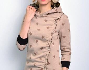 hoody shirt beige stars by STADTKIND