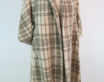 LILLI ANN Gray Plaid Swing Coat / 1960s Vintage Coat