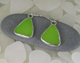 Bright Lime Green Sea Glass Bezel Earrings
