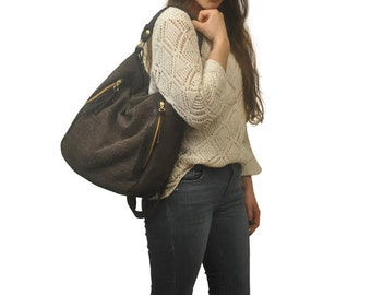 Canvas-linen women, shoulder,messenger,everyday ,ipad bag, in brown  with leather details,named Vera MADE TO ORDER