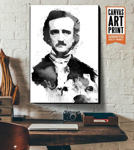 Edgar Allan Poe, Canvas, Art Print, Portrait of Gothic, Horror author, The Raven, Nevermore, Poster size Canvas Art, Gothic Art Decor