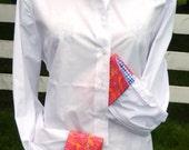 French Cuff Shirt w Pink Orange & Blue check