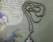 Sterling Silver Egyptian Scarab on Heavy Sterling Twisted Link Chain