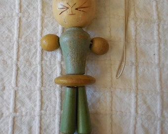 Vintage Wooden Kitty Cat Crib Baby Toy