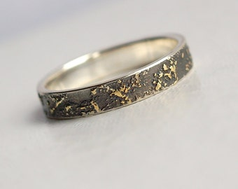 gold chaos 4mm wide unique wedding band for her or him 18k gold and - Gold And Silver Wedding Rings