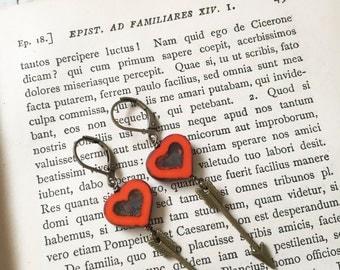 Arrow to my Heart - Bohemian Red Heart Shaped Arrow Earrings Funky Edgy Arrow earrings Valentines Day gift Picasso Czech glass hearts