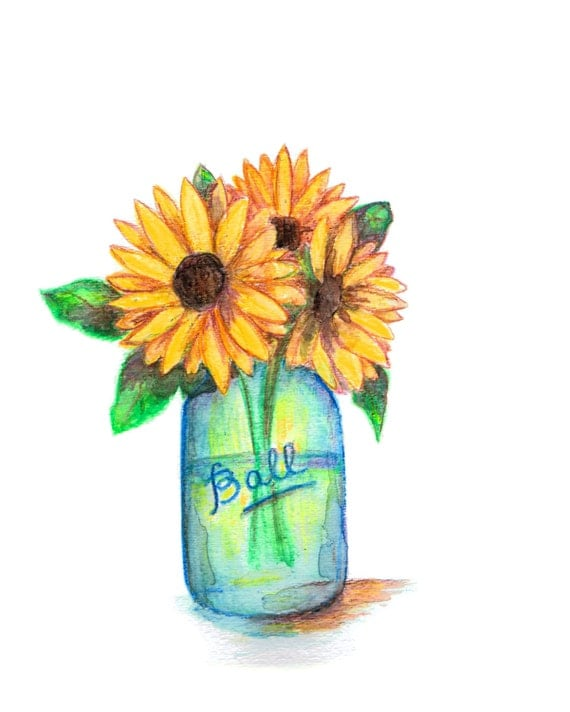 Mason Jar Wall Art, Sunflower Painting, Sunflower Watercolor, Mason Jar Wall Decor, Mason Jar Print, Housewarming Gift, Farmhouse Decor