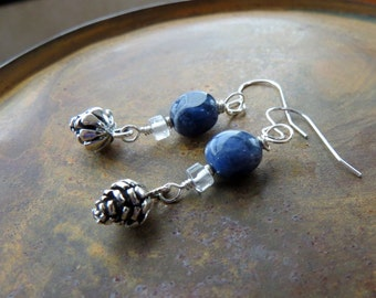 sodalite earrings . PINECONE . sterling silver earrings . blue earrings . stone earrings . stone earrings . earthy earrings . denim earrings