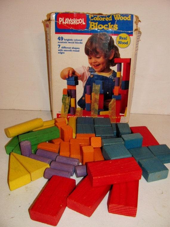 Colored Wood Blocks ~ Vintage playskool colored wooden blocks complete with