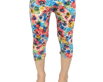 Girls floral capri leggings, girls summer clothes, blue, mustard, kids cropped leggings, ready to ship, 2t 3t 4t 5t xs