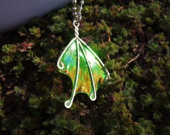 "Light Green Fairy Wing Necklace, Medium Wing Necklace, ""Fern Fairy"" Wing"