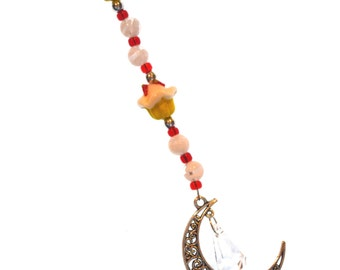 Cupcake , Moon & Crystal Ornament Red, White, Yellow Hanging Beaded Crystal Feng Shui Sparkles Crescent Moon