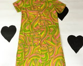 60's psychedelic day dress 1960's deadstock neon button up house dress / A-line / Summer / Op Art / Candy / Lounge Cover Up / Smock / XL L