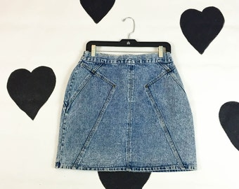 80's denim pencil skirt 1980's acid wash blue jean Stefano high waist skirt / high waisted / stone wash / straight / mini / XL / 30 waist L