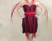 Red color criss cross crinoline elastic Belt with plastic pistils style for fantasy party unique woman size