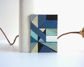 Mint blue abstract art ACEO, Geometric miniature painting on wood
