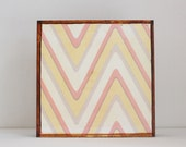 nursery wall decor in pink yellow- arrow pattern zig zag pattern- kids room decor- nursery wall art- redtilestudio