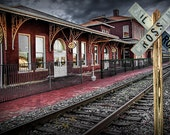 Old Train Station with Crossing Sign in Gutherie Oklahoma No.0840 A Fine Art Railroad Landscape Photograph