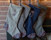 Hanukkah Stocking . Hebrew Character . Dreidel Fun . Set of 4 Stocking Set . Navy Blue . Red Blue Grey Plaid . Vintage Wools
